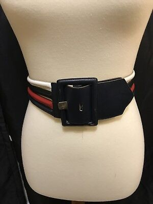 Vintage 80's Yves Saint Laurent Wide Red,White and Blue Leather Belt Size Medium