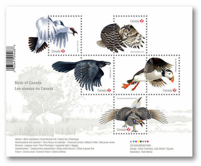 2016 Birds of Canada: Souvenir Sheet of 5 stamps