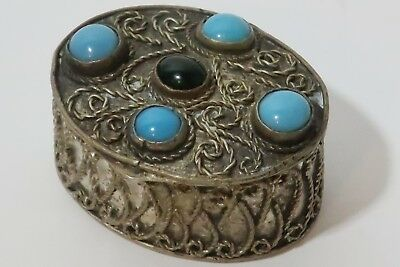 1910 Persian inlaid Pill/Snuff box. With turquoise and black jade inlaid lid.