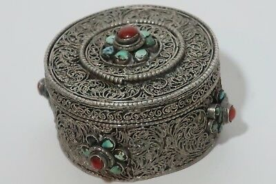 1900-1910 Persian silver-wire-worked potion box.