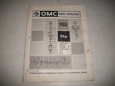 1966 EVINRUDE and JOHNSON  5 HP OUTBOARD PARTS LIST CATALOG