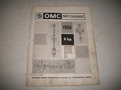 1966 EVINRUDE and JOHNSON  6 HP OUTBOARD PARTS LIST CATALOG