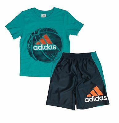 NWT Adidas Boys' Tee and Active Short Set - TURQUOISE -  7