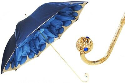 Pasotti Umbrella - By Pasotti Ombrelli - Blue Dahlia With Jeweled Handle