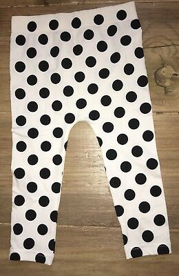 Girl's Thick Black & White Polka Dot Footless Tights Size S/M NWOT