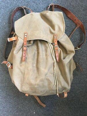 VTG SWEDISH Military Army BACKPACK Triple 3 CROWN Canvas Leather METAL FRAME