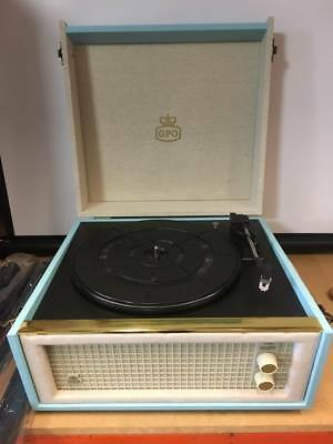 Gpo Bermuda Record Player Blue Cream On Legs Retro 60S Style Vintage