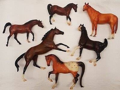 "Breyer Reeves Collectible Toy Horses Brown Speckled Animals 7""-12"" LOT of 6"