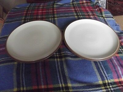 denby everyday cappucino dinner plates x 2