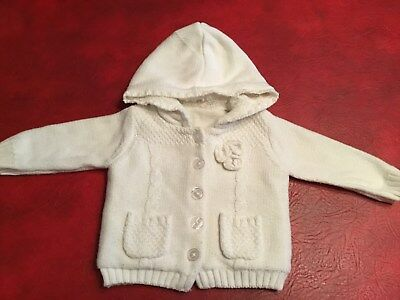 Baby Girl's Fleece Lined Hooded Jacket, Age 3-6 months, Colour White
