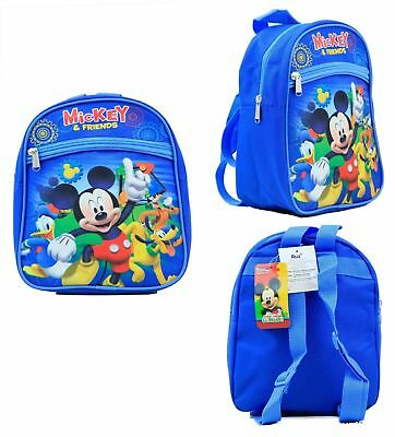 "Disney Mickey Mouse & Friends 10"" Mini Blue Backpack Kids Canvas Licensed NWT"