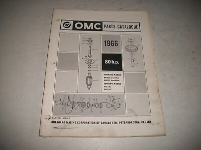 1966 EVINRUDE and JOHNSON  80 HP OUTBOARD PARTS LIST CATALOG