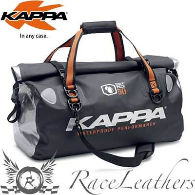 Kappa Black Silver Waterproof Dry Pack Luggage Tail Bag Motorcycle Touring 50L