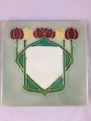 "Antique Mintons Art Nouveau Tube Lined Majolica Tulips 6"" Tile Circa 1905"