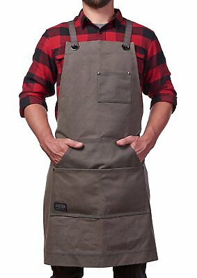 Hudson Durable Goods - Heavy Duty Waxed Canvas Work Apron With Tool Pockets (Gre