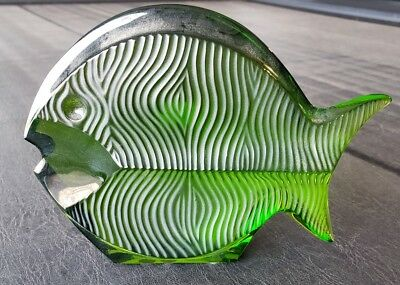 Baccarat Crystal Green Fish Figurine Sculpture France Art Glass Blow Fish Signed
