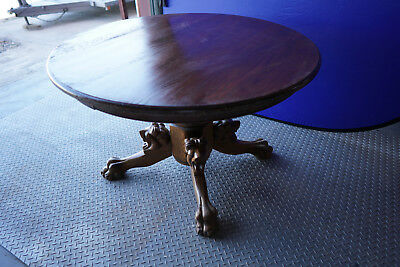 Vintage American Antique Circa 1900s Oak Round Dining Table LION head Claw Foot