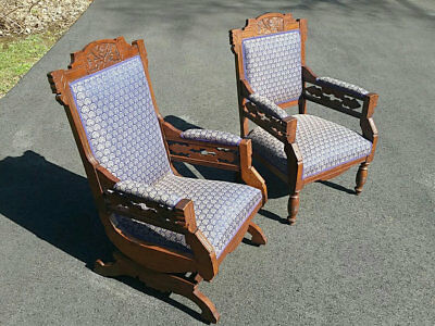 Pair of upholstered Walnut Eastlake Chairs