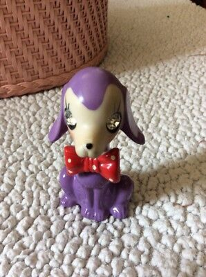 Japan Dog Figurine Vintage Glass Rhinestone Eyes Red Polka Dot Bow