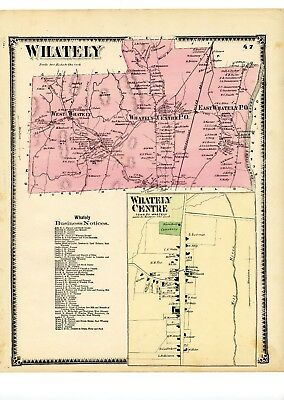 1871 Beers Map of Whately, from Atlas of Franklin County atlas, w/family names
