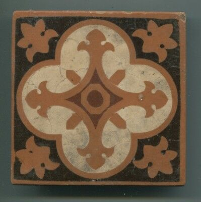 "A 4-colour glazed encaustic 4.25"" square tile by Architectural Pottery Co, c1880"