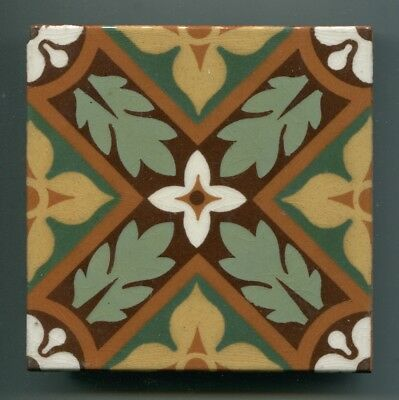 "A 7-colour glazed encaustic 4.25"" square tile by William Godwin, c1880s"