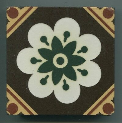 "A 5-colour glazed encaustic 4.25"" square tile by William Godwin, c1880s"
