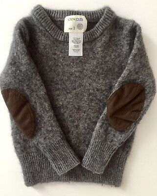 J. CREW kids, crewcuts grey sweater Faux Leather Elbow Patches in Size 3