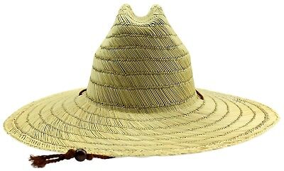 Men's Women's Natural Straw Picker Summer Hat Chin Strap Wide Brim Sun Protect