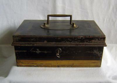 Vintage Tin Toleware Cash Box with Brass Handle  - has key but no lock striker