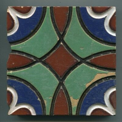 """Very early Minton majolica tile 5"""" square, c1850"""