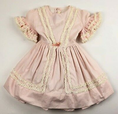 Vintage 60's Marthas Miniatures Dress Size 5 Pink White Lace Sheer Ruffles Bows