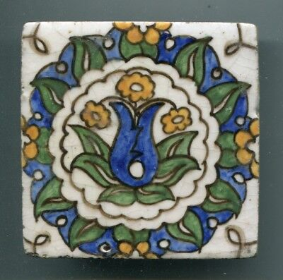 "Dutch delftware 3"" square tile by unidentified maker, c1920"