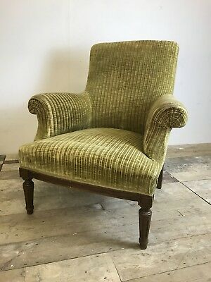 French Napoleon 3rd Armchair High back In Green Velvet Upholstery 19th Century