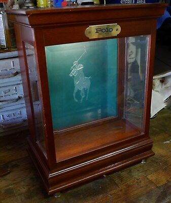 VTG Ralph Lauren Polo Cologne Table Top Lighted Wood Glass Display Case