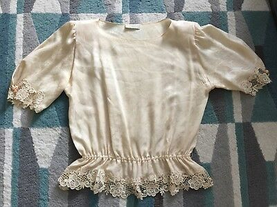 Vintage Womens 12 Carol Peretz Silk Lace  Blouse Victorian Top A Must See