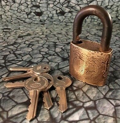 Vintage Brass CORBIN Lock with Keys padlock 7 working keys