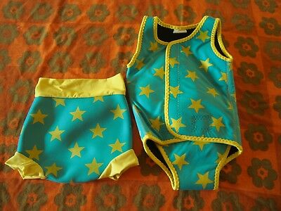 blue yellow star swim suit 2 part swimming costume 3-6 6-12 months