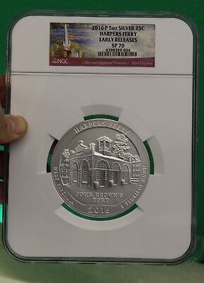 2016-P ATB 5 oz SILVER HARPER FERRY NGC SP70 EARLY RELEASES - GREAT COIN!