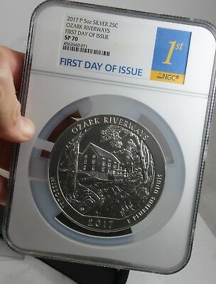 2017-P ATB 5 oz SILVER OZARK RIVERWAYS NGC SP70 FIRST DAY OF ISSUE GREAT COIN!