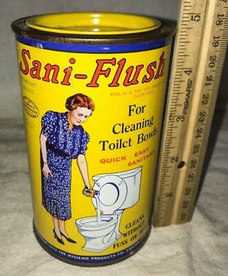 Antique Unopened Sani-Flush Toilet Bowl Cleaner Tin Litho Can Vintage Cleanser