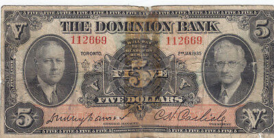1935 The Dominion Bank $5 Bank Note