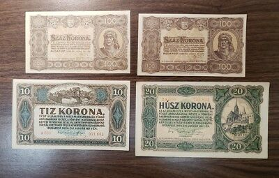 Hungary Lot of 4 Banknotes