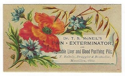 Dr. McNeil's Pain Extractor late 1800's medicine trade card #B - Massillon, OH