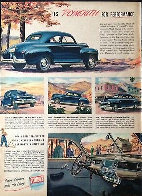 1948 Automobile Ad~Plymouth High-Powered L-Head Engine Motor Car