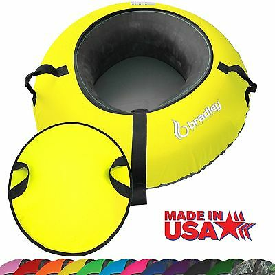 Heavy Duty Snow Sled Tube w/Yellow Cover & Flexible Cushion Saucer Disc Tubes