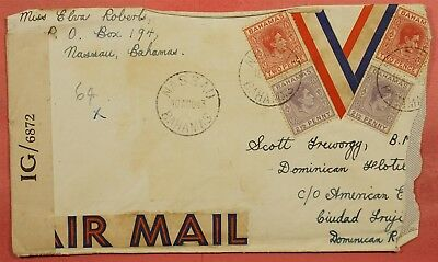 1943 Bahamas Nassau Wwii Patriotic Censored Airmail To Dominican Republic