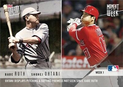 2018 Topps NOW MLB MOW-1 Babe Ruth Shohei Ohtani Moment of the Week