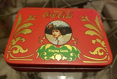 1980's Coca Cola Playing Trading Cards Metal Tin Coke Drink Advertising VINTAGE