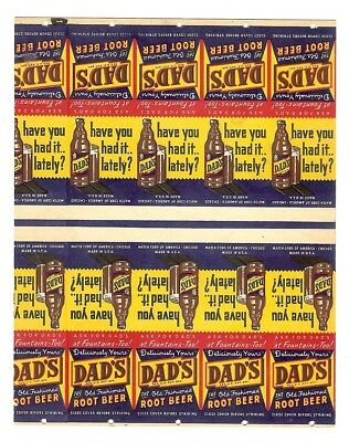 Great Vintage Dad's Root Beer Soda Advertising Match Book Cover Sheet